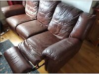 Faux-Leather 3-Seater Reclining Sofa