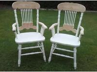 2 shabby chic pine oak carver chairs