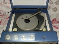 RECORD PLAYER 1960s PORTABLE MARCONIPHONE MODEL 4006 BLUE REXINE. IN V.G.C.(NOW REDUCED).