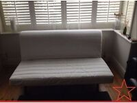 IKEA LYCKSELE 2 Seater Double Sofa Bed + Blue Cover + VERY Comfy Thick Mattress VGC (Can Deliver)