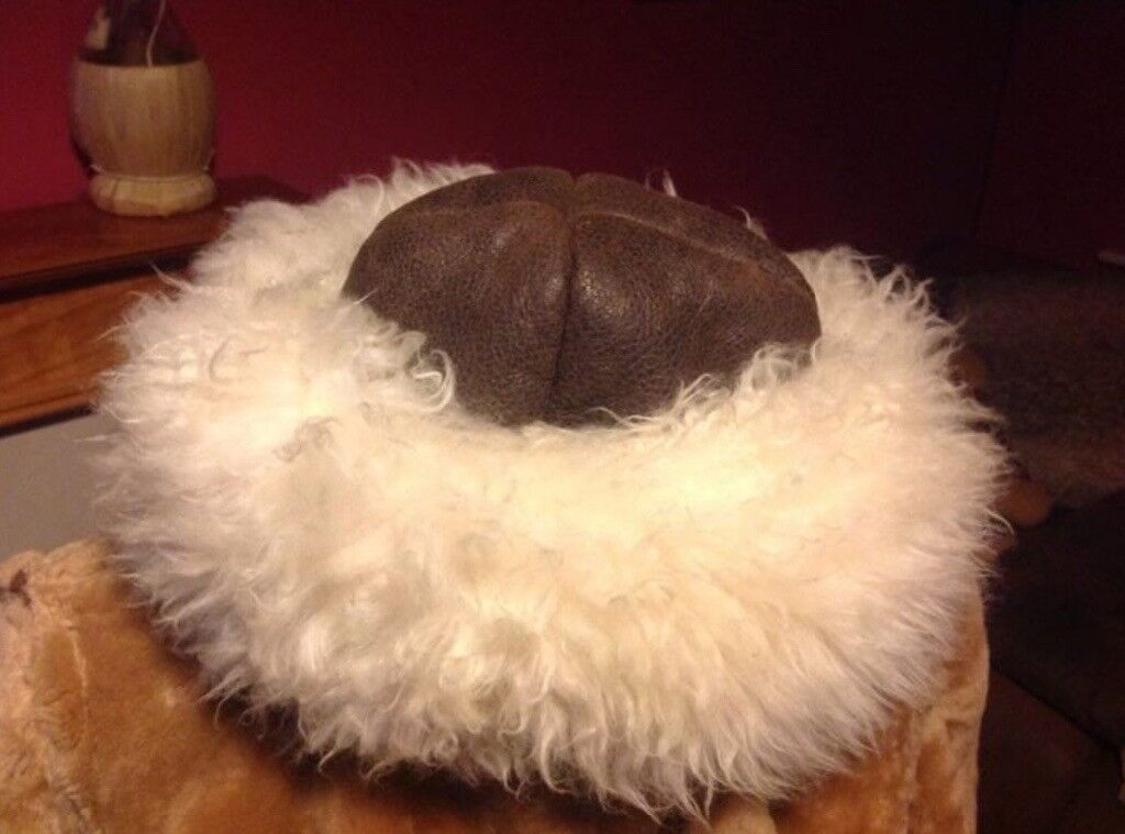 Sheepskin and leather hat