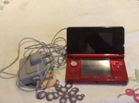 3ds red with charger
