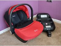 Red Silver Cross Simplicity Car Seat and ISOFIX base *£200 in Mothercare*
