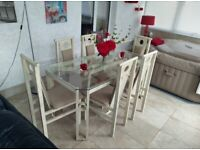 Beautiful Barker and Stonehouse distressed metal and glass dining table 6 chairs unusual design