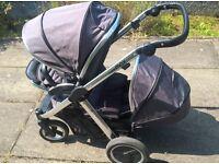 OYSTER MAX TANDEM PRAM / STROLLER : SLATE GREY - for 2 kids, including 1 new-born baby : £475 ONO