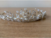 Beautiful Bridal Tiara in Ivory and Silver
