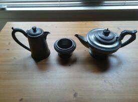 Civic Pewter Coffee Pot Tea Pot and Sugar Bowl