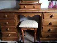 Antique pine dressing table with stool and mirror