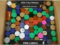 BOX 19dram Pop Top Containers that hold 3-5g each or 80ml FREE LABELS