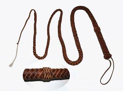 Bullenpeitsche aus Latigo Leder 2,5m Bull Whip Peitsche Domina Lederpeitsche