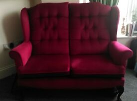 Red Two-Seater Vintage Sofa — £120