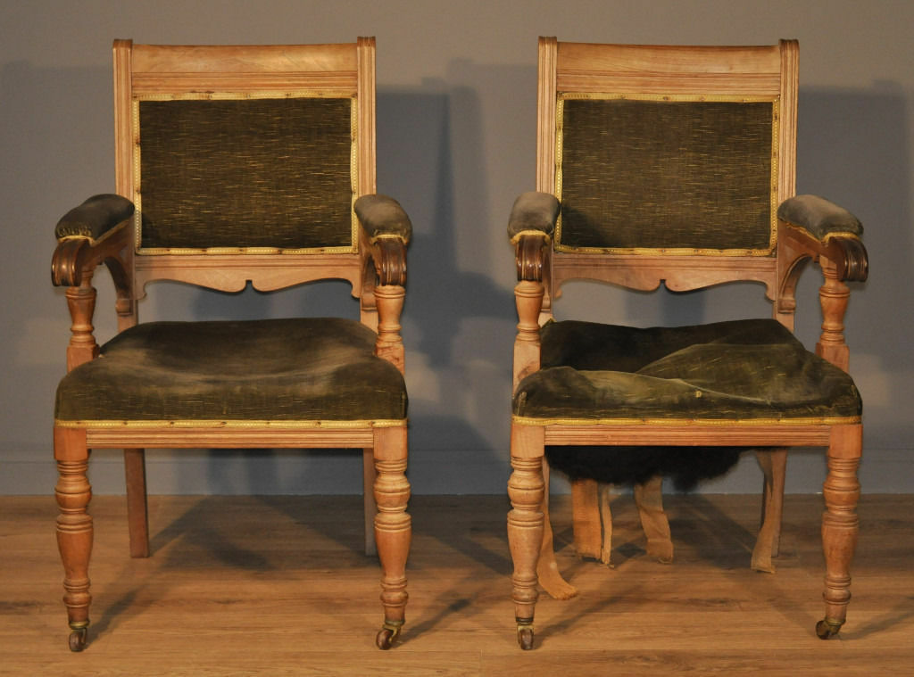 Pair Of 2 Antique Victorian Fireside Armchairs Library Chairs For Reupholstery
