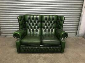 FREE DELIVERY GREEN GENUINE LEATHER CHESTERFIELD 2 SEATER SOFA GREAT CONDITION