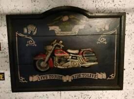 Harley Davidson large wooden picture