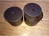 faux leather storage boxes x 2