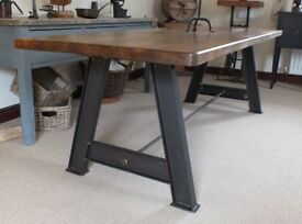 Rustic Industrial Solid Pine Wood Dining Table Oak Finish