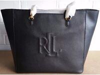 Ralph Lauren Halee Tote Black Leather Handbag - Brand New With Tags