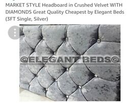 Silver crushed velvet head board with diaimonte