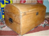 Large Antique Victorian Hand Made Waxed Pine Travel Trunk Box Chest Vintage