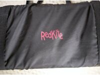 Redkite Travel Cot, Black with white mesh, excellent condition with carry bag and matress.