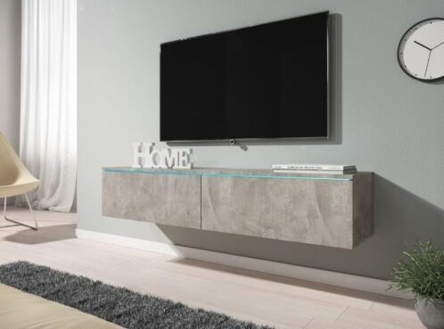 Tv Meubel Dixon Beton Eiken Wit Of Grijs Met Led Tv Kast