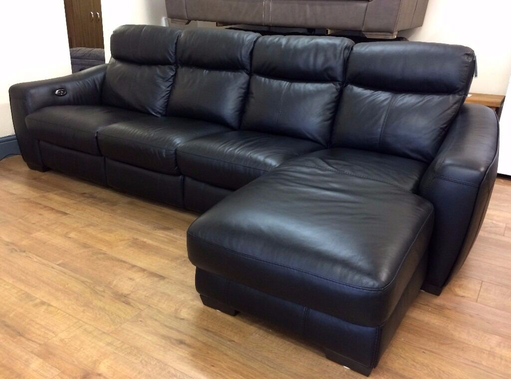 Fv Cressida Black Leather 4 Seater Electric Recliner Sofa Rhf Chaise Free