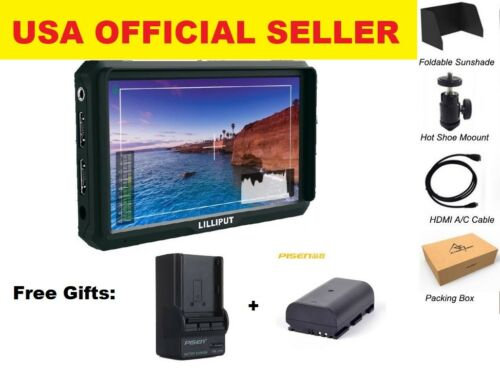 "Lilliput A5 5"" 1920x1200 118g 8bit 4K HDMI DSLR Camera monitor W/ LP-E6 Battery"