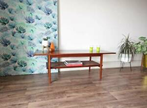 Retro 1960's Teak Coffee Table with Rattan Shelf, Parker ...