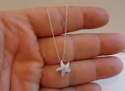 925 STERLING SILVER STARFISH PENDANT NECKLACE W/ .75 CT ACCENTS / NEW DESIGN!!!! Design Sterling Silver Necklace
