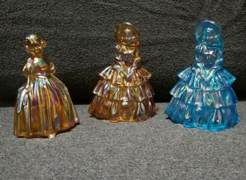 Vintage Wheaton Iridescent Amber & Blue Carnival Glass Southern Belles & Girl
