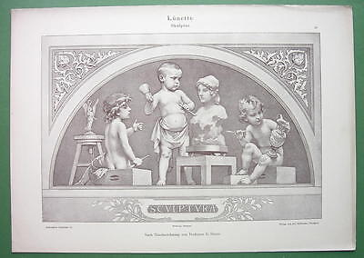 Cute Cupid Costume (ART NOUVEAU Dekorative Vorbilder Print  - Cute Cherubs Cupids Sculptors)