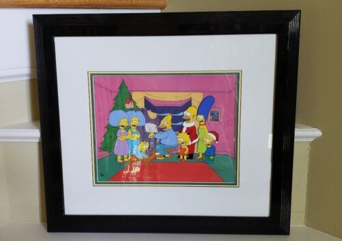 Rare Limited Edition Animation Cel Simpsons Christmas Roasting on an Open Fire