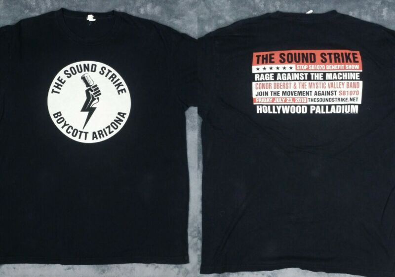 RAGE AGAINST THE MACHINE HOLLYWOOD CONCERT T SHIRT OBERST SOUND STRIKE SB1070 XL
