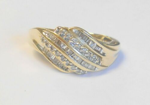 Vintage Dome 5 Row Diamond Baguette & Round 10K Yellow Gold Ring Size 9.25