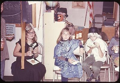 Tween Halloween Party (Tween Girls In Costumes at Halloween Party Vintage 1970 Slide)