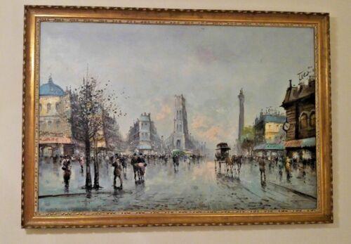 ANTONIO DEVITY HUGE ORIGINAL OIL PAINTING - Paris Scene - 63.5 in L by 44.5 in H