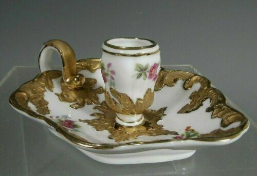 European Porcelain Candlestick Holder w/ Gilt & Floral Decoration ca. 19-20th c.