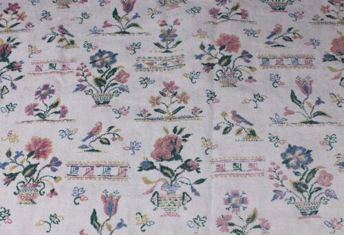 Antique Printed Homespun Linen Fabric~Early American Sampler Motifs c1920-30