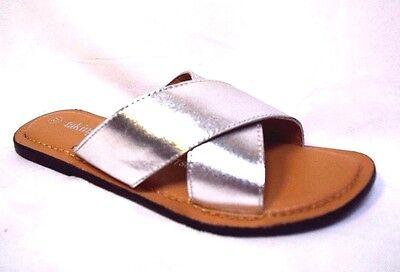 TS shoes TAKING SHAPE sz 6 / 37 Anastasia Leather Sandal silver flats slides NIB