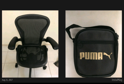 Chair  and puma bag brand new