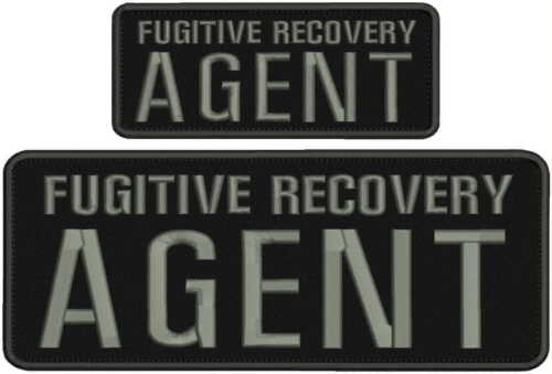 Fugitive Recovery Agent embroidery patches 4x10 and 2.5x6 hook grey letters