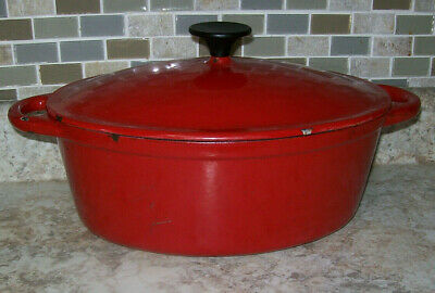 Vintage Red/White Oval Dutch Oven 5 QUART CAST IRON ENAMELWARE