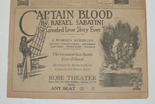 Captain Blood, Rafael Sabatini, 1924 Original Large Newspaper Movie Ad