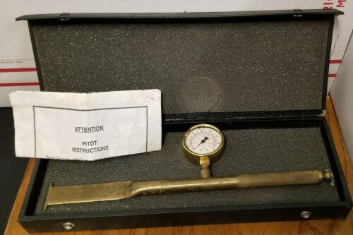Pitot Tube and Gauge Kit, Brass Antique, 0-160 psi