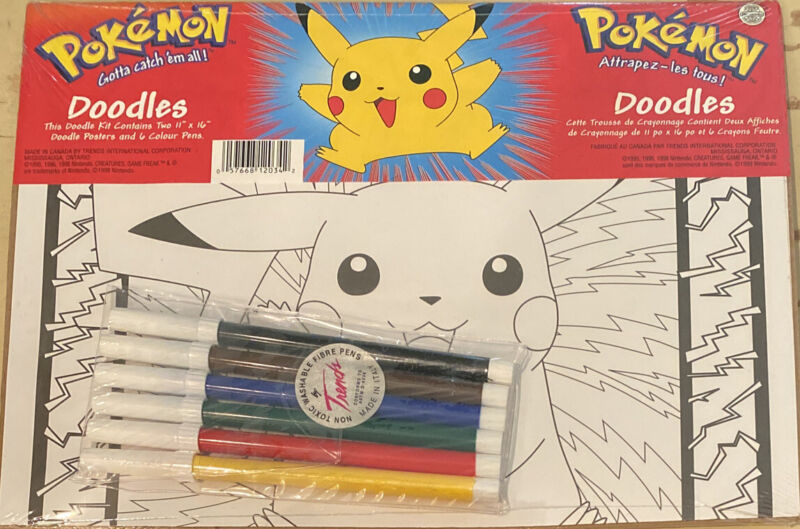 """Pokemon Doodles ~ Coloring Kit Two 11"""" x 16"""" Posters & 6 Color Markers Date 1999"""