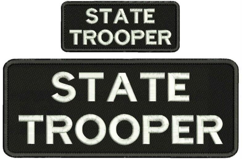 state trooper embroidery patches 4x10 and 2x5 hook white