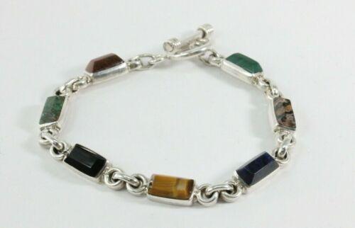 "Taxco Mexico 925 Sterling Silver Multi Gemstone Square Link 8"" Bracelet FS!"