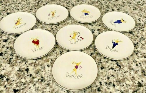 set of 8 pottery barn porcelain reindeer coasters/small plates etc