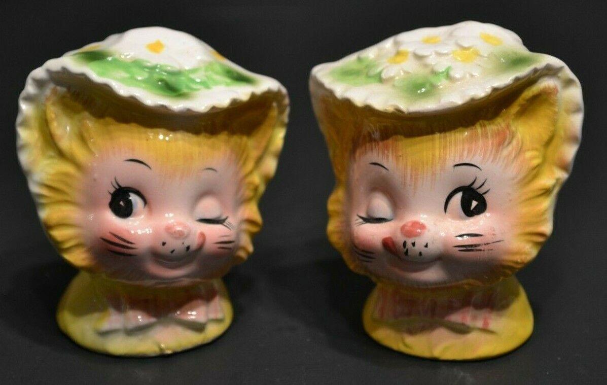 Vintage Enesco Winkin Kitten Cat Buttercup Daisy Salt Pepper Shakers EUC - $39.99