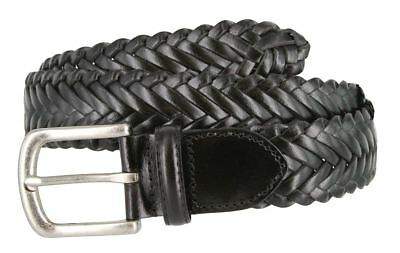 Genuine Leather Woven Braided Leather Dress Casual Belt 1-3/8